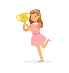 Happy school girl in pink dress holding winner cup vector