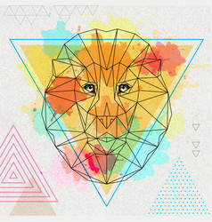 Hipster polygonal animal lion on artistic vector