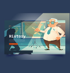 history learning banner with teacher in classroom vector image