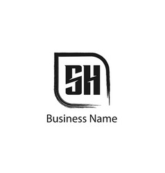 initial letter sh logo template design vector image