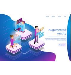 isometric banner augmented reality everyday life vector image