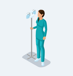 isometric hospital doctor nurse surgeon vector image