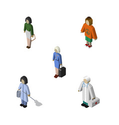 Isometric people set of lady pedagogue medic and vector