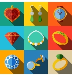 Jewelry colorful flat icons set with long shadow - vector