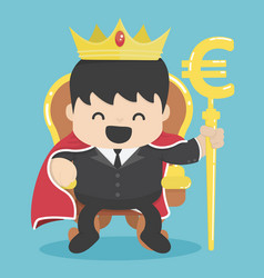 King of businessman with silver euro symbol vector