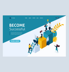 Landing page isometric concept young entrepreneurs vector