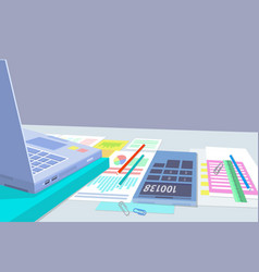 Laptop and office papers set vector