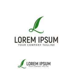 letter l leaf logo design concept template vector image