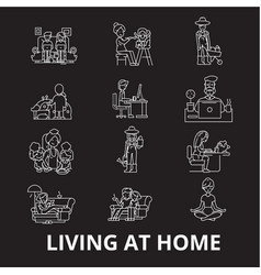 living at home editable line icons set on vector image