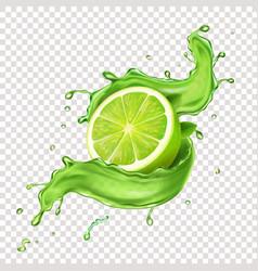 llime in green juicy splash splashing mojito vector image