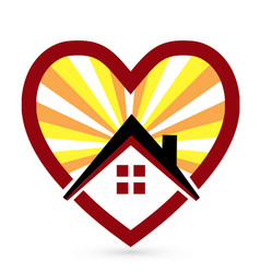 loving heart and home icon vector image
