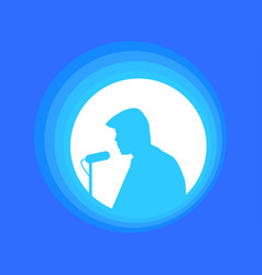 man with microphone speakers speech silhouette of vector image
