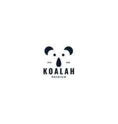 Minimalist koala head face logo design vector