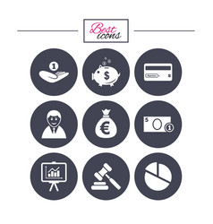 money cash and finance icons piggy bank sign vector image