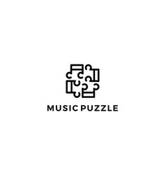 music puzzle with line style logo design concept vector image