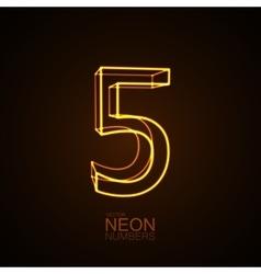 Neon 3D number 5 vector