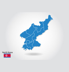 north korea map design with 3d style blue north vector image