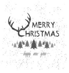 oh my deer merry christmas vintage hand-drawn vector image