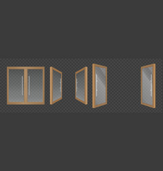 open and closes glass doors with wooden frame vector image