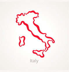 Outline map of italy marked with red line vector