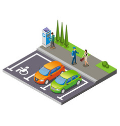 Parking isometric composition vector
