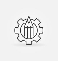 pencil in gear icon vector image