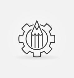 Pencil in gear icon vector