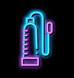 Penis pump neon glow icon vector