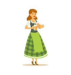 Pretty waitress in a green bavarian traditional vector