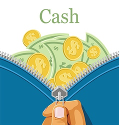 Purse and a lot of cash vector image