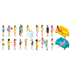 quality isometry a large set 3d girls pregnant vector image