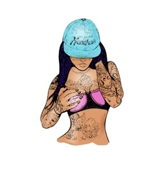 Rap girl in a cap vector