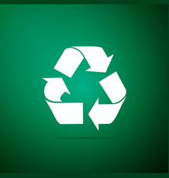 recycle symbol icon isolated on green background vector image
