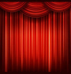 Red closed curtain with light spots in a theater vector