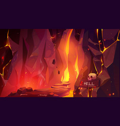 Road to hell infernal hot cave with lava and fire vector