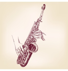 saxophone hand drawn llustration vector image