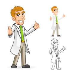Scientist with Thumbs Up Arms vector image