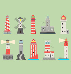 Sea and ocean flat lighthouses searchlight vector