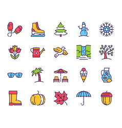 seasons items color linear icons set vector image