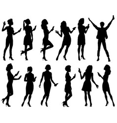 set female silhouettes vector image