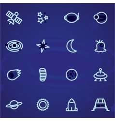 Set of icons and logos space stars vector image