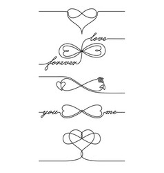single line drawing endless love icons one line vector image