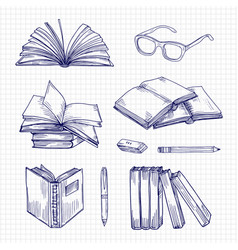 Sketch books and stationery vintage library vector