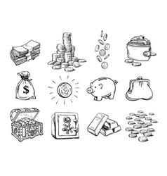 sketch finance money set sack dollars vector image