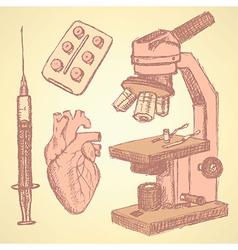 Sketch medical set in vintage style vector image
