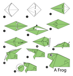 Step instructions how to make origami a frog vector
