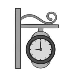 Street clock icon black monochrome style vector image