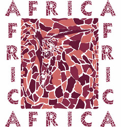 stylized texture a giraffe head skin and text vector image