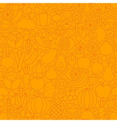 Thin Orange Vegetarian Healthy Food Line Seamless vector image