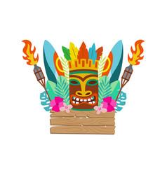 Tiki mask surfboard and hawaiian holiday items vector